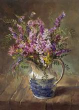 Vetch with Wild Orchids - blank card by Anne Cotterill