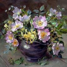 Briar Roses in Pewter - Birthday Card by Anne Cotterill Flower Art