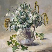 First Snowdrops - blank flower art card