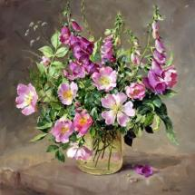 Foxgloves and Wild Roses blank card by Anne Cotterill Flower Art