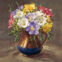 Freesias - flower card by Anne Cotterill