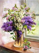 Lilac and Other Blossom - Blank Flower Card by Anne Cotterill