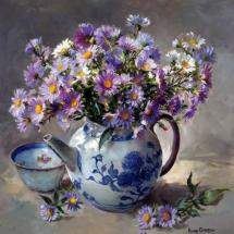 Michaelmas Daisies  blank greetings card by Anne Cotterill