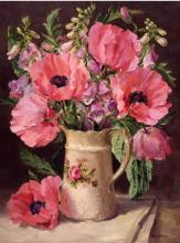 Oriental Poppies - Birthday Card by Anne Cotterill