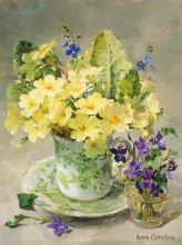 Primroses with Posy of Violets - Birthday Card by Anne Cotterill