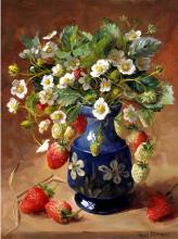 Strawberries -  Blank Card or Birthday Card by Anne Cotterill Flower Art