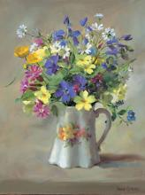 Wild Flowers in the Victorian Jug - blank or birthday card by Anne Cotterill