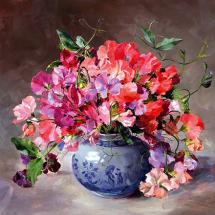 Bouquet of Sweet Peas - Birthday Card by Anne Cotterill