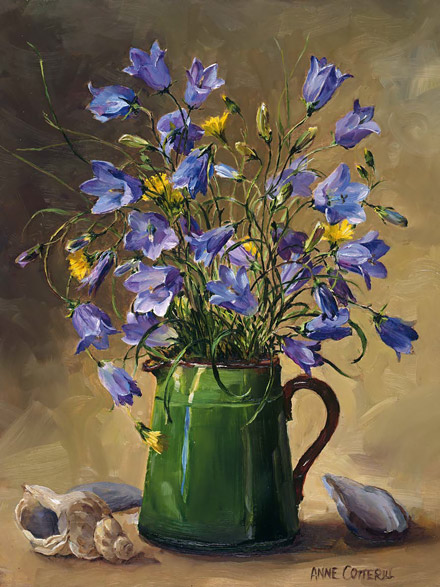 Harebells with Shells - flower greetings card