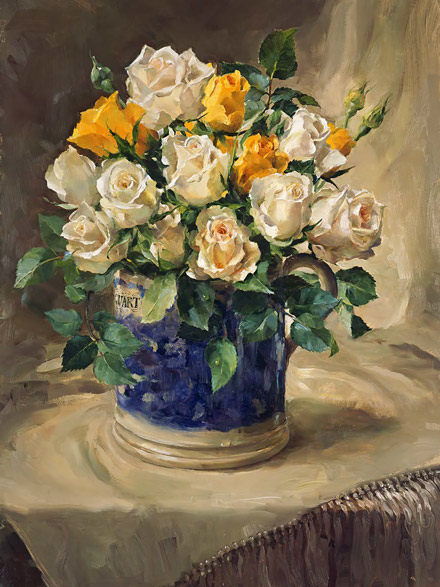 Roses in a Quart Jug