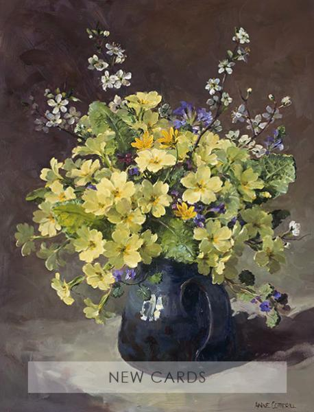 'Primroses and Blackthorn' blank flower card taken from an Anne Cotterill original oil painting